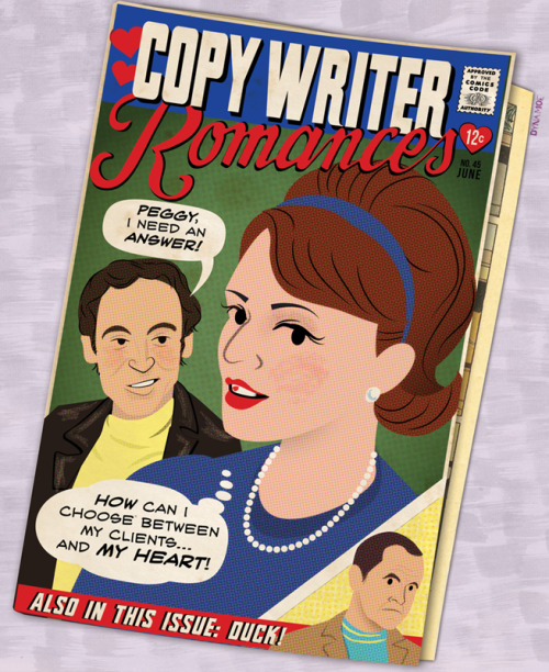 "Copywriter Romances (an attempt to blur the ""romance comics"" look and my Mad Men Illustrated style)"
