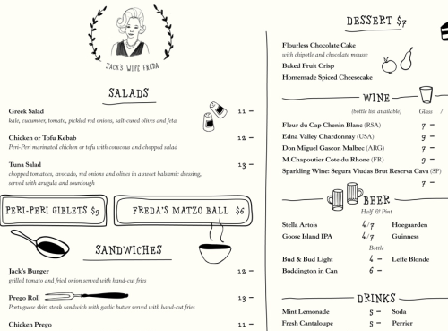 jack's wife freda, a new restaurant in nolita, has a logo and menu design by paperwhite studio that makes my heart skip a beat. love the mixture of hand-drawn illustrations and typography with a simple, no-fuss font. cant wait to try the restaurant!