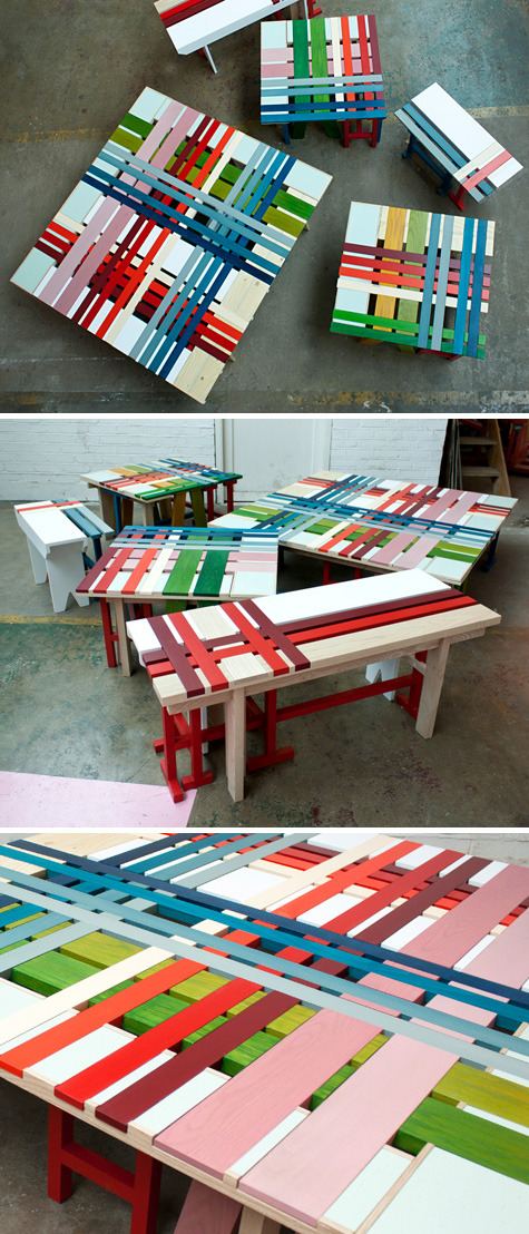 Plaid Bench by Raw Edges (via designvagabond: plaid bench collection)
