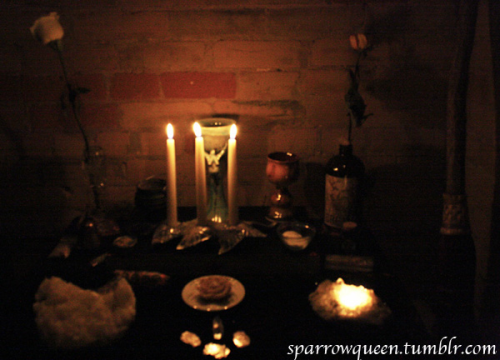 "Imbolc, Part 2 - Rosa Mystica Altar   I know it's been a few days, but I feel like Imbolc energy is still very much with us. The full moon looked perfect last night. I had a little something planned, but my head was full of snot and I was nursing a migraine. Alas, perhaps I'll do a mini ritual tonight.   After my crazy fire incident the other night I had a very beautiful water (and fire) heavy rite with Rosa Mystica. It was one of the most fantastic rituals I've ever done - truly healing, nurturing and transformative. I felt so much lighter and rejuvenated afterward. This was one for the record books, kids! My coven are some of the most fantastic individuals I have ever met and I am so truly blessed to have them in my life as friends and magical co-creators.   Our group Imbolc ritual focused a lot on healing (in all respects) and ran quite late into the night and though I was exhausted the new day, I felt so cleansed and awesome!  Which I suppose is a good segue into something personal I also wanted to mention. I had a really positive appointment with my rheumatologist on Monday. The good news is that I am well on my way to remission. I'm not out of the woods yet, but I can see the path and am walking it. I am over the moon happy about this. I have worked so hard in the past year to take control of my health and well-being. Living with Lupus has challenged me on every level, and forced me to make some huge lifestyle changes.   I just watched a fantastic new Abraham-Hicks video and one point in it really stood out for me, ""If your desire to feel good is strong enough, you will always find a way to come back into your power."" Esther was talking about emotions, but I think it applies to my healing journey as well.   Onwards and upwards!  ~sparrowqueen ♥"
