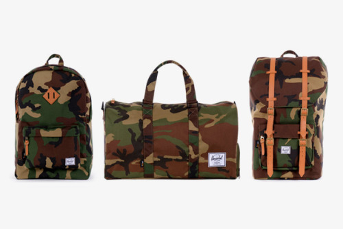 Herschel Supply Co. 2012 Spring/Summer 'Woodland Camo' Collection Herschel Supply have taken the brand into a new direction of breaking out into bolder and more diverse ranges for them. This Woodland Camo collection also sees the brand branching into more durable fabrics. They've kept the trademark styles and spiced them up a little. It works for me.