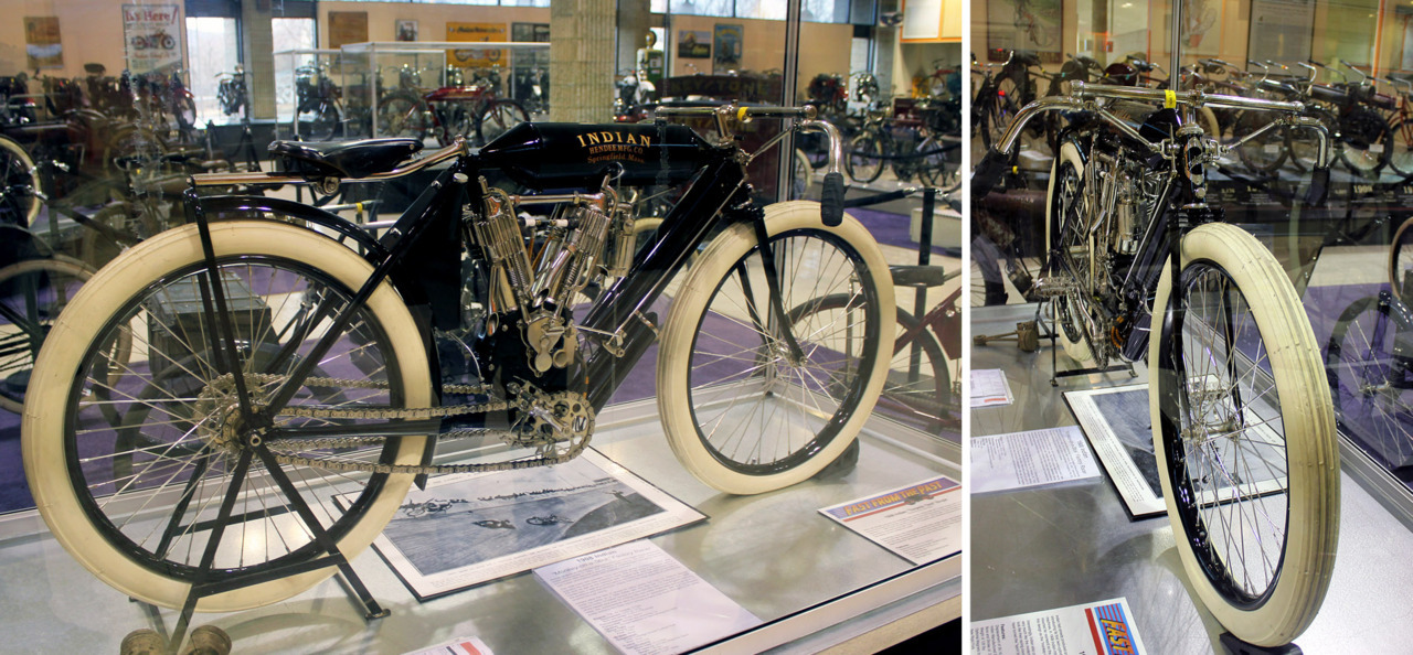 """Monkey-on-a-Stick"" Motorcyclepedia's 1908 Indian Twin Racer Restored original, frame #T666 Notice the second chain.. Manual pedaling system so technically it's a hybrid."