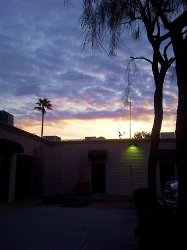 Sunrise in Arizona. This was taken a few hours ago when it was still way to early to be awake, but yet again I managed to be up and at work in time to see it. Though my nights of insomnia seem to be happening more frequently now and are starting to take there toll on me, it is worth it. Morning twilight is my absolute favorite time of day just for the pure fact that everything is so quiet and peaceful. Also, because I feel like I am the only person on earth during morning twilight and all of my troubles just seem to fade into the background since they wont even come to existence for a few more hours.