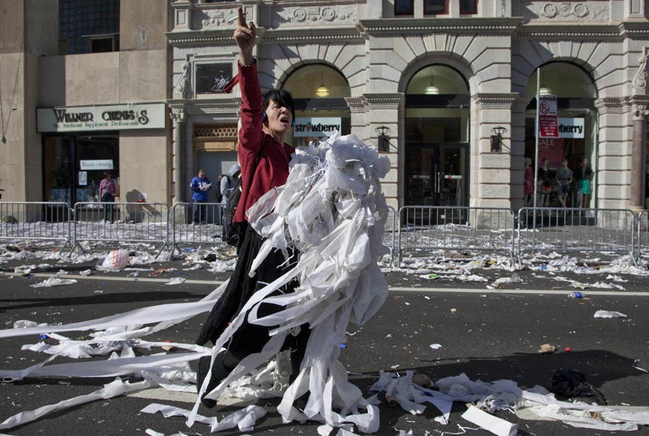 After the parade in Lower Manhattan you can find toilet paper cheaper then the Dollar store. Photographed Feb. 07, 2012 photo credit & copyright Gary Dwight Miller