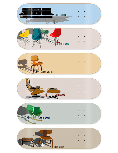 warbyparker:  Eames chair skateboard decks.