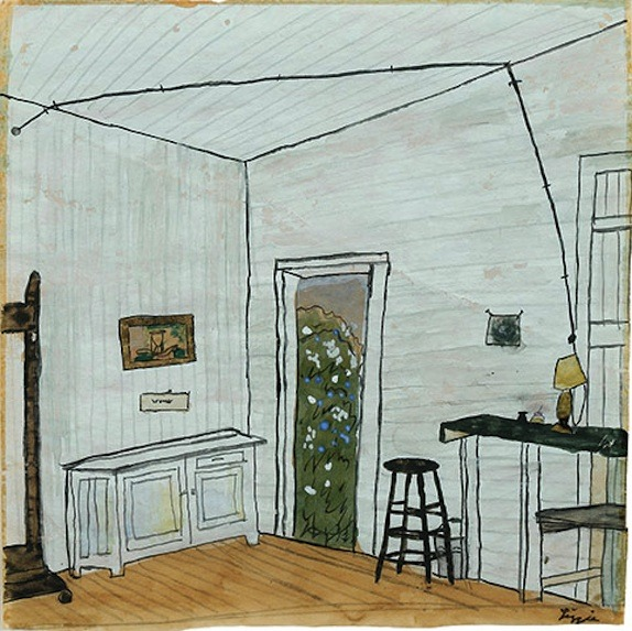 "Elizabeth Bishop, ""Interior with Extension Cord."" Undated; watercolor, gouache, and ink."