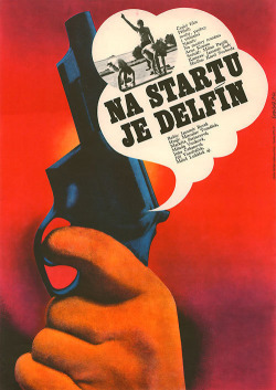Dolphin on the Starting Line (Na startu je delfín).  Film poster by Karel Vaca, Czechoslovakia (1974).Found here.