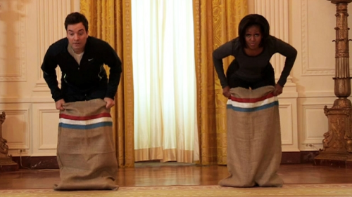 Did you guys catch Michelle Obama and Jimmy Fallon in a fitness competition? She is so fierce! I want to potato sack race with Michelle! -A latenightjimmy:  Last night First Lady Michelle Obama faced off against Jimmy in a fitness competition at The White House. WATCH!