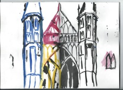 Let's See  Illustration: Brief 1  Winchester Cathedral with experimentation of pencil dipped in ink.