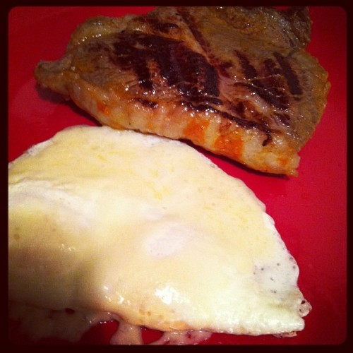 Steak and eggs.  (Taken with instagram)