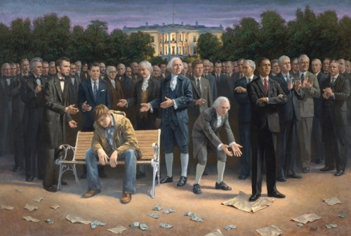 "washingtonpoststyle:  ""The Forgotten Man,"" by Utah artist Jon McNaughton. (The Forgotten Man kind of looks like an adult Justin Bieber, post-fame.) Via The Salt Lake Tribune via Hank Stuever   Oh good lord. TJ and GW were just SAINTS (aside from the whole owning other human beings and keeping them in abusive bondage thing). HOW DARE THAT MUSLIN TURN HIS BACK ON THEM!!!1! Also, nice touch with Clinton and the Roosevelts applauding. The only thing missing is Hillary and Eleanor lezzing out in the corner."