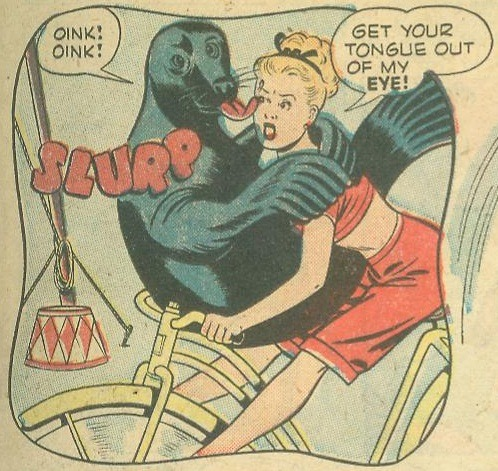 zoomar:  Get your tongue out of my eye! kinosian:  From Dotty #36 (1948)