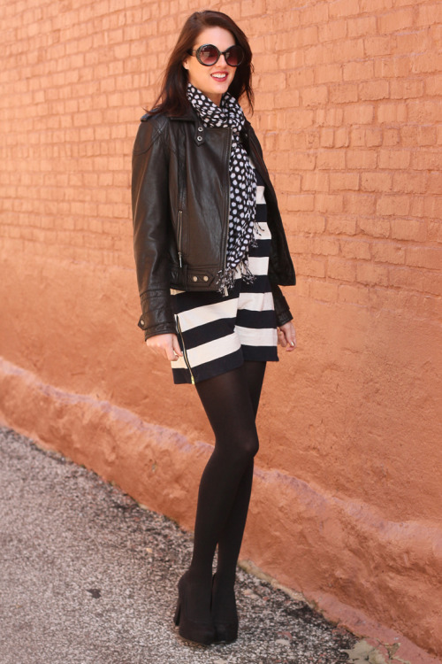 modcloth:  Love the graphic pairing of polkadots and stripes. via What I Wore.  I second this. Especially because I'm apparently obsessed with stripes (I have at least 6 striped shirts..).