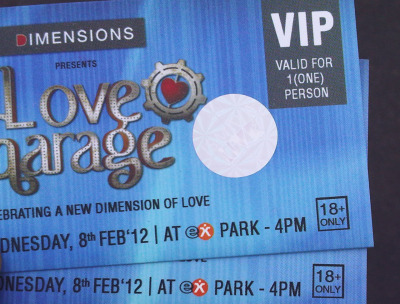 these are LOVEGARAGE's day 2 tickets. I sold these because I need money to kick start my clothing line. It's a shame. They've got sick lineups I'd love to watch.