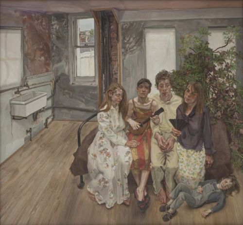Lucian Freud's Large Interior, W11 (after Watteau), 1981-3, part of the Lucian Freud Portraits show that opens this week at National Portrait Gallery in London.  Photograph: Private Collection/The Lucian Freud Archive