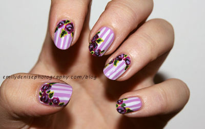 nailsbyveryemily:  Floral nails I created for a guest post for my friend Gwenn's blog Sweet Sugar Nails! Take a look!
