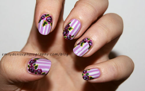 Floral nails I created for a guest post for my friend Gwenn's blog Sweet Sugar Nails! Take a look!