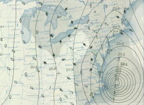 studio-varnelis-sp12:  Weather map from the 1938 New England hurricane