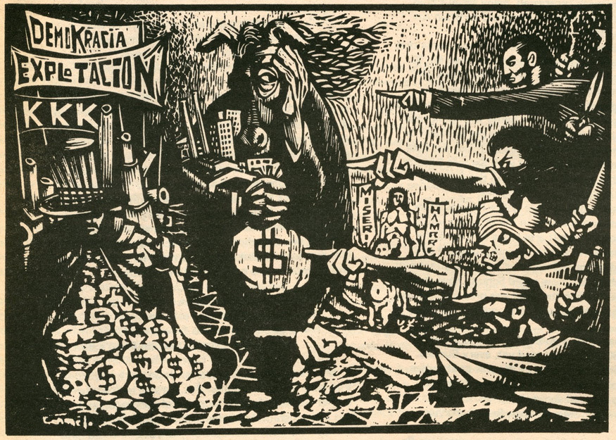 Condemnation of Labor Exploitation (1961) by Cuban artist Carmelo González Iglesias reprinted in Chicago Seed (1972)