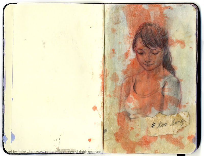"peterchan:  ""too long""approx 7"" x 5""mixed media (inks, graphite, and old paper)"