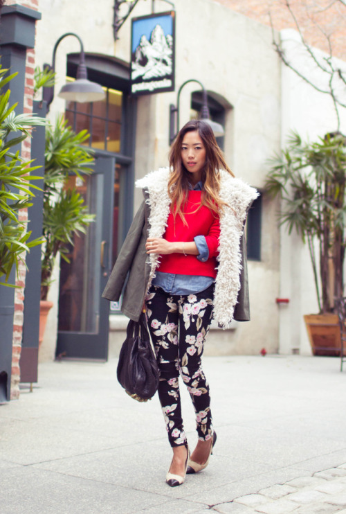 Floral pants are very in this spring!