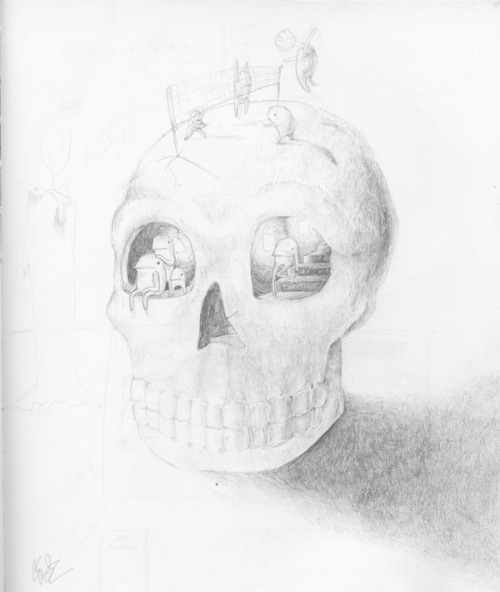 skull home, old pencil sketch