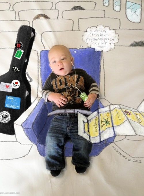 Mason's chillin'-on-the-plane scribble was a surprise going-away gift from their friend Jen; the family making a big move from Iowa to California.
