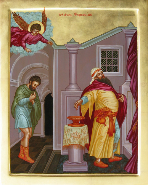 "Icon of the Publican and the Pharisee  ""He who exalts himself shall be humbled, but he who humbles himself shall be exalted."" - Mathew 23:12 This past Sunday marked our entrance into the Triodion period where we physically, spiritually, and mentally begin to prepare ourselves for the journey ahead. We must have always in our mind the stance of the Publican before the LORD as our hymns boldly proclaim; ""Understanding, O my soul, the difference between the Publican and the Pharisee, hate the proud words of the one, and eagerly imitate the contrite prayer of the other, crying aloud: God be merciful to me a sinner and have pity on me."""