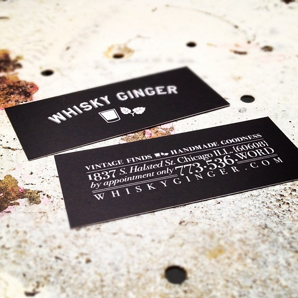 dankdistrict:  Print Design- Whisky Ginger Have fun with fonts. Designed business cards for @whiskygingerxo. Printed on a flat black, with bright white letters. Decided to play with a font collage treatment approach with the business information.