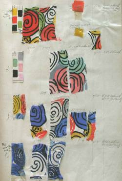 Sonia Delaunay, Metz & Co fabric book with Design 1317. France, 1934. Gouache and ink on paper with silk swatches.