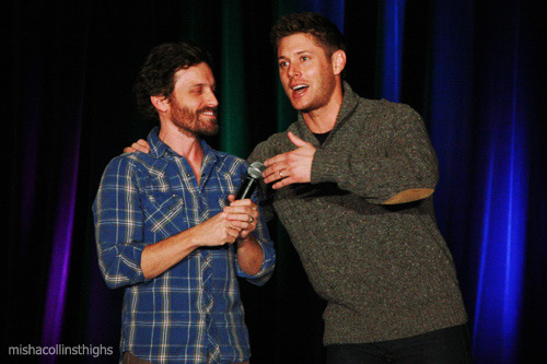 camuizuuki:  mishacollinsthighs:   Jensen crashes Rob's panel  the top pic might just be my favourite pic of all times ;O;