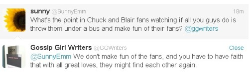 On Chuck and Blair Austin Winsberg (Writer of Episodes 5x08 and 5x15) answer fan questions on@ggwriters' twitter page