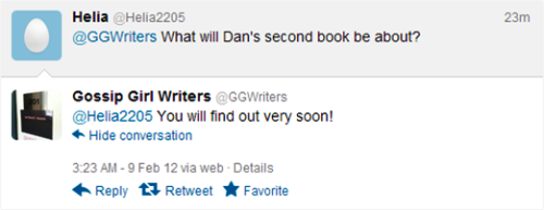 Dan's second book (already?) Austin Winsberg (Writer of Episodes 5x08 and 5x15) answer fan questions on@ggwriters' twitter page