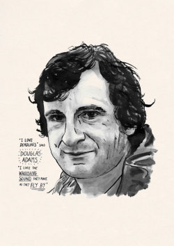 "This is a poster print of the writer Douglas Adams, best known for 'The Hitchhiker's Guide to the Galaxy', 'The Restaurant at the End of the Universe', 'Dirk Gently's Holistic Detective Agency', etc. etc. etc. The caption reads:  ""I love deadlines"" said Douglas Adams, ""I like the whooshing sound they make as they fly by"" Yep. I know that feeling!"