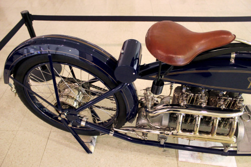 "Long & Strong Motorcyclepedia's 1915 Henderson Model C (or D?) 4-cylinder I could probably write an essay on the details of this rolling masterpiece, but some of my favorite details are the ""suicide"" shifters, the super-long length, the vintage colors, and the exhaust pipe work."