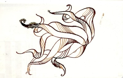 "ponchartraintopus : calligraphy ink: 5.5"" x 3.5"""
