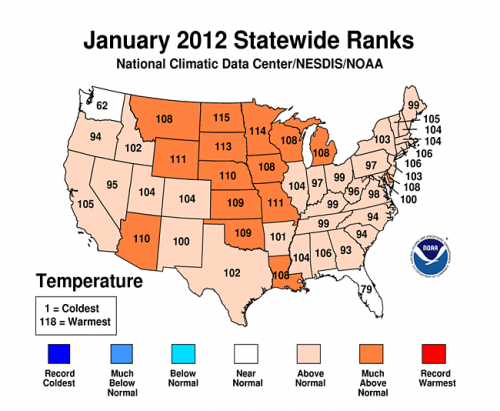 onearth:  No, You Weren't Hallucinating: January Was Really Warm NOAA's numbers prove it.