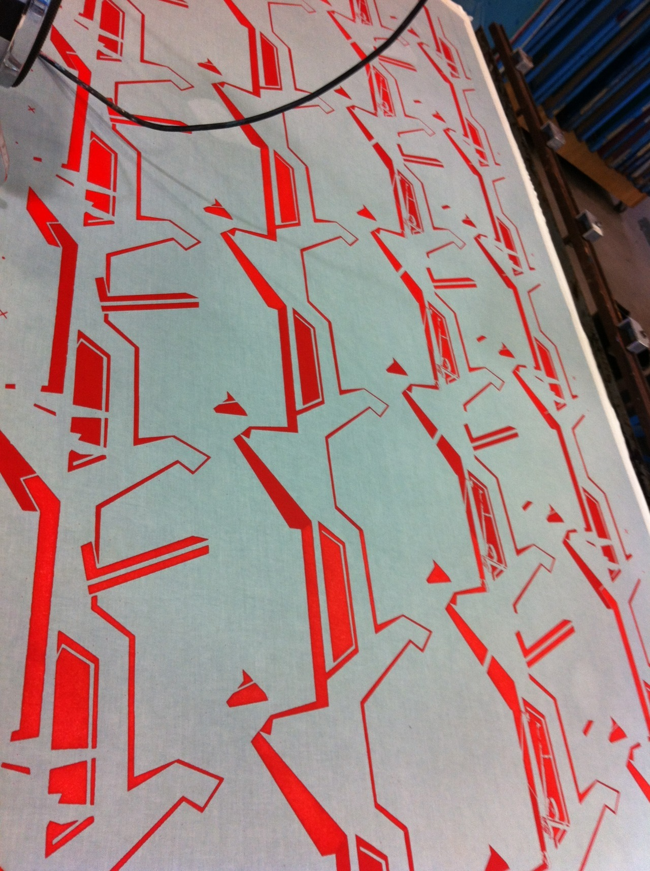 Colour layer one of manual printed length - pillar box red pigment
