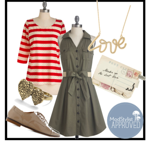 modcloth:  Create an unexpected Valentine's Day outfit by wearing a laid-back dress such as the olive Braai Invite Dress, and adding red accents and flirty accessories! (via ModStylist polyvore) <3 Amy, ModStylist Need styling suggestions, trend tips, or dress details? Ask a ModStylist and your question might be featured on our feed!