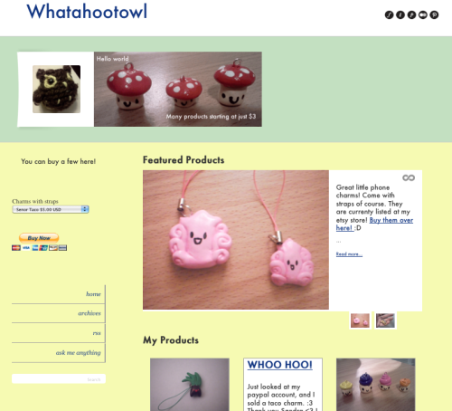 We love how Whatahootowl is using our Storefront theme! She's promoting her Etsy store products - cute phone charms and knitting - and has even successfully added a PayPal widget directly to her blog. Brilliant! Keep up the good work, Whatahootowl.