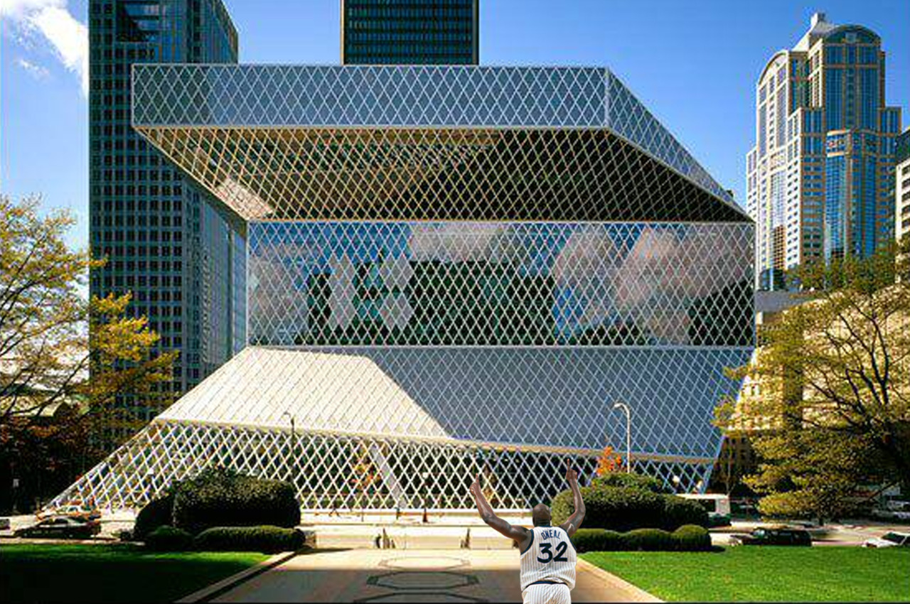 Shaq could not resist the urge to explore the Seattle Public Library after he had heard rumors of the programmatic elements displaced throughout the building through a series of delaminations.