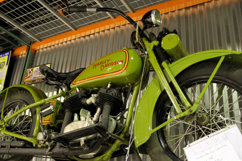 Army Inspired Harleys 1929 BA, 1930 VC in lime green, 1921 VF Opposed-Twin, an original condition 1926 26J 1000cc 3-seater, and original condition 1919 Model K with copper fenders and white tires.