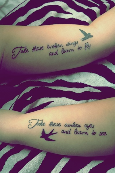 My first tattoo … but not the last one ;) Lyrics from the song Blackbird - Paul McCartney <3 Beatles  Done by Rachie T, Two Hands Tattoo, Auckland, NZ