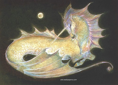 A unicorn and mermaid combined = My fave.  Another by Susan Seddon Boulet
