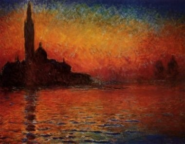 San Giorgio Maggiore at Dusk (aka Venice Sunset) by Claude Monet (1908) Also known as San Giorgio Maggiore at Twilight, or Sunset in Venice, or San Giorgio Maggiore at Venice. This is a view of the monastery island of San Giorgio in Venice. The painting is owned by National Museum Cardiff, the national art gallery of Wales.