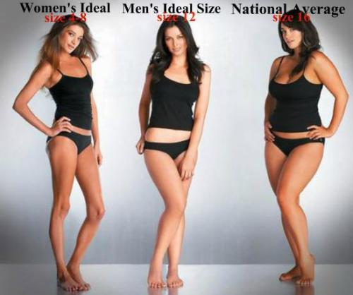 Ideals Based on Women, Men, and the National Average The ideals of men and women are usually different, and the national average is another story.  Do you think that this picture represents true ideals? Does it remain true for you?