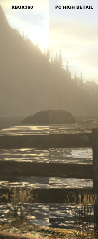 Check out this comparison image posted by Remedy of the graphics on the Xbox 360 version of Alan Wake and the upcoming PC version. The PC version has much more high resolution textures and a clearer lighting system. We thought that the PC version wouldn't have received too much attention, but we were gladfully wrong. The game is set for release on February 16th at retail and via digital distribution. Its a great way for those that don't own an Xbox 360 to get their hands on the psychological thriller. For more news and features - follow BroGamer. Or feel free to submit a piece, join the Brommunity.