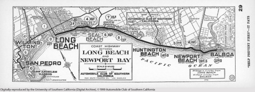1929 map of the coast highway route between Long Beach and Newport Beach. From the USC Digital Library's Automobile Club of Southern California Strip Maps Collection.