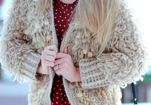 Inspiring looped and sequinned knitted cardigan… on my mood board!