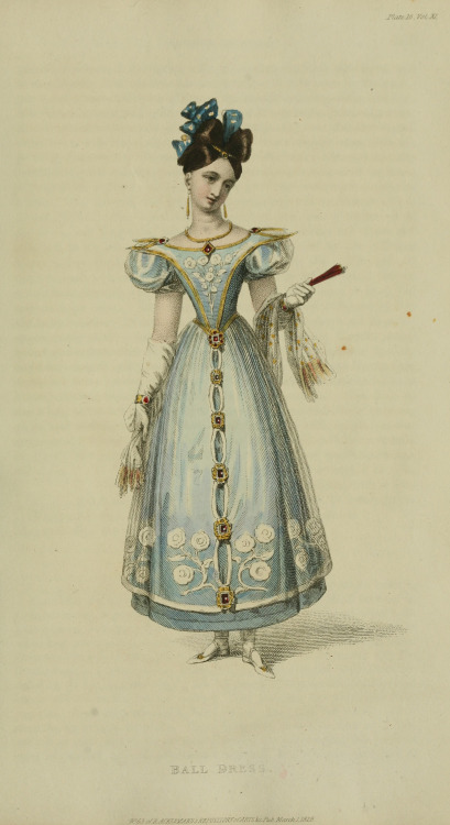 Ballgown, 1828 UK, Ackermann's Repository